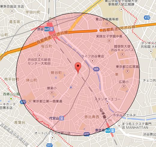 【R1web】地図上の距離計測 v13 円での範囲表示