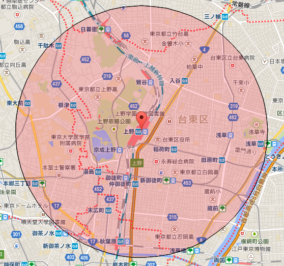 【R1web】地図上の距離計測 v45 円での範囲表示