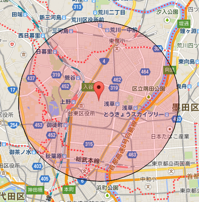 【R1web】地図上の距離計測 v466 円での範囲表示